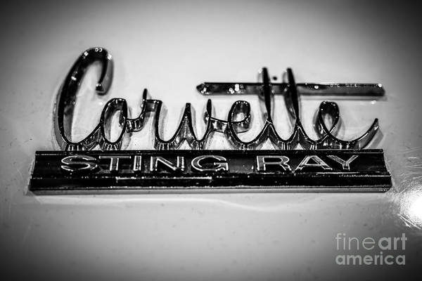1960's Print featuring the photograph Corvette Sting Ray Emblem by Paul Velgos