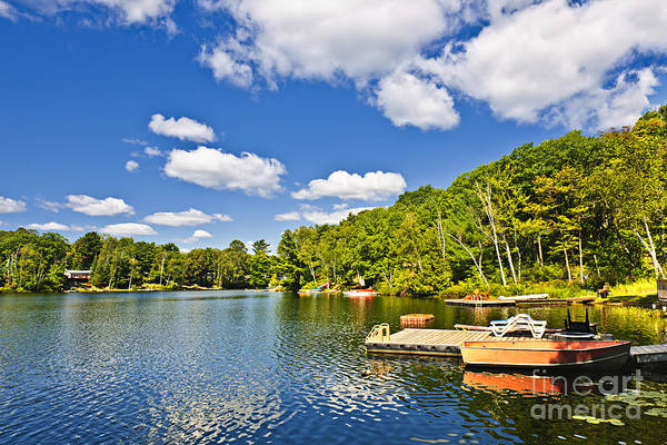 Cottages Art Print featuring the photograph Cottages On Lake With Docks by Elena Elisseeva