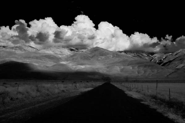 Clouds Print featuring the photograph Country Road by Cat Connor