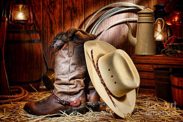 Cowboy Art Print featuring the photograph Cowboy Gear by Olivier Le Queinec