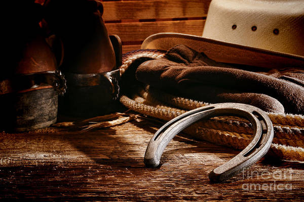 Western Art Print featuring the photograph Cowboy Horseshoe by Olivier Le Queinec