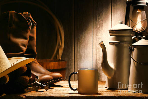 Western Print featuring the photograph Cowboy's Coffee Break by Olivier Le Queinec