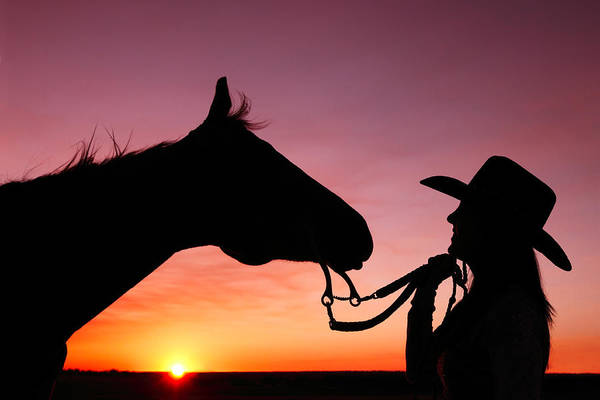 Cowgirl Art Print featuring the photograph Cowgirl Sunset by Todd Klassy