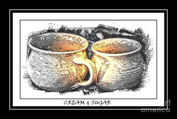 Cream And Sugar Art Print featuring the photograph Cream And Sugar - Pottery by Barbara Griffin