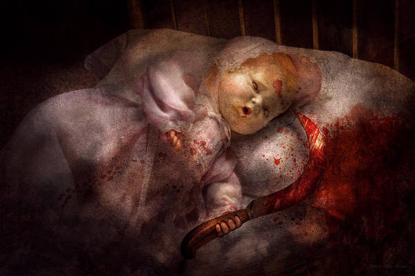 Doll Art Print featuring the digital art Creepy - Doll - Night Terrors by Mike Savad