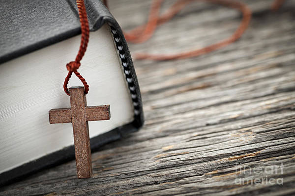 Cross Art Print featuring the photograph Cross And Bible by Elena Elisseeva