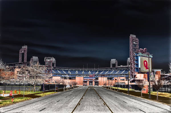 Dark Art Print featuring the photograph Dark Skies At Citizens Bank Park by Bill Cannon