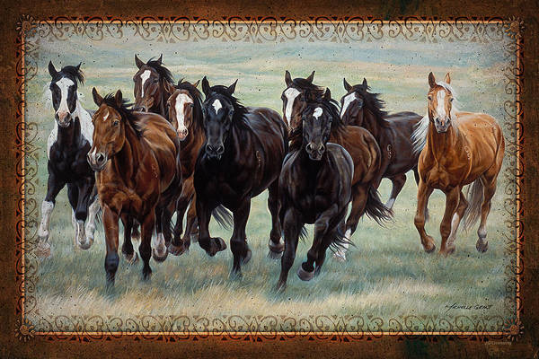 Michelle Grant Art Print featuring the painting Deco Horses by JQ Licensing