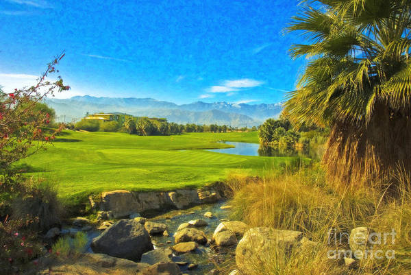 Golfing At Desert Willow Golf Course Palm Desert Ca Art Print featuring the photograph Desert Golf Resort Pastel Photograph by David Zanzinger