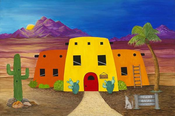 Whimsicle Desert Inn Has Vacancy Art Print featuring the painting Desert Oasis by Carol Sabo