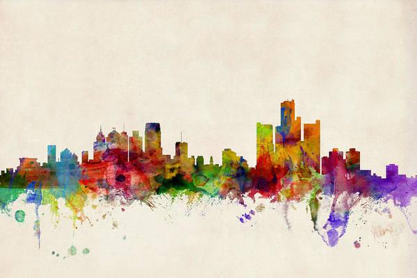 Watercolour Art Print featuring the digital art Detroit Michigan Skyline by Michael Tompsett