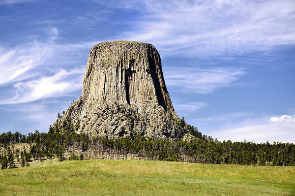 Clouds Art Print featuring the photograph Devils Tower by Frank Burhenn