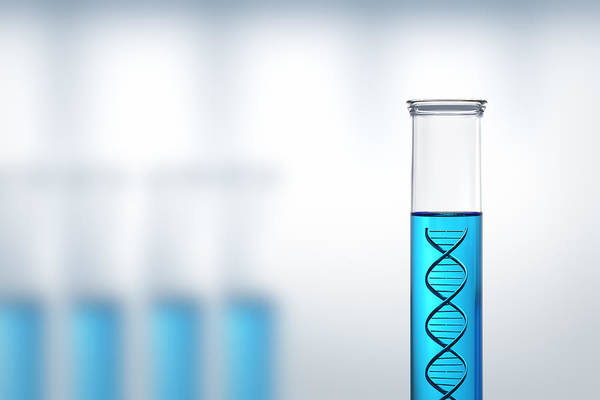 Dna Print featuring the photograph Dna Research Or Testing In A Laboratory by Johan Swanepoel