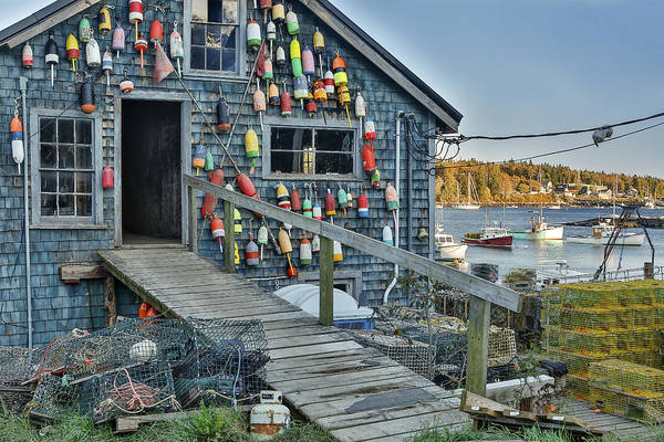 Horzontal Print featuring the photograph Dock House In Maine by Jon Glaser
