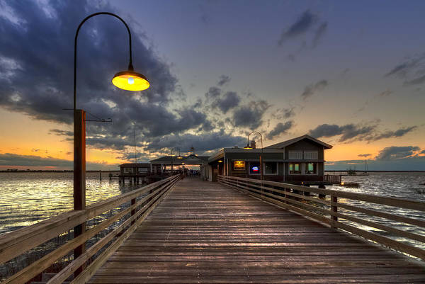 Boats Art Print featuring the photograph Dock Lights At Jekyll Island by Debra and Dave Vanderlaan