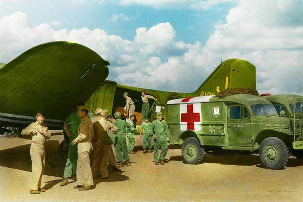 C-47 Art Print featuring the photograph Doctor - Transferring The Wounded by Mike Savad