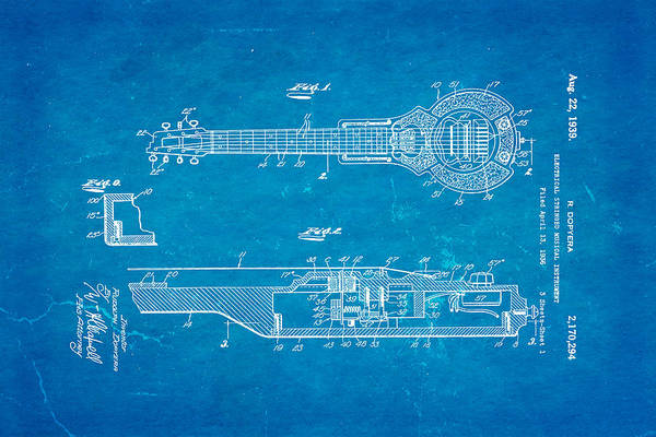 Famous Art Print featuring the photograph Dopyera Dobro Hawaiian Lap Steel Guitar Patent Art 1939 Blueprint by Ian Monk