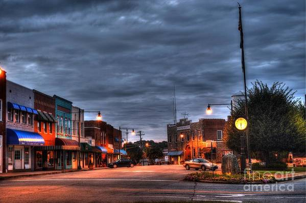 Down Town Granite Falls Art Print featuring the photograph Down Town Granite Falls At Six Thirty In The Morning by Robert Loe