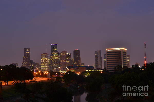 Downtown Houston Skyline Print featuring the photograph Downtown Houston Before Fireworks by Aaron Edrington