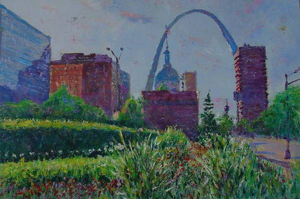 Cityscape Art Print featuring the painting Downtown St. Louis Garden by Horacio Prada