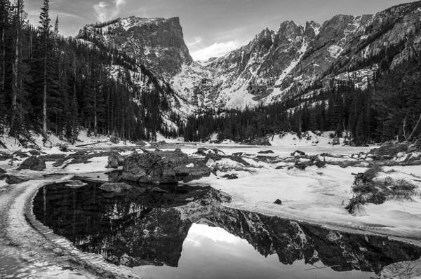 Colorado Art Print featuring the photograph Dream Lake Reflection Black And White by Aaron Spong