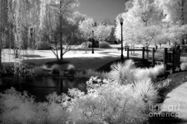 Infrared Art Prints Art Print featuring the photograph Dreamy Surreal Black White Infrared Landscape by Kathy Fornal