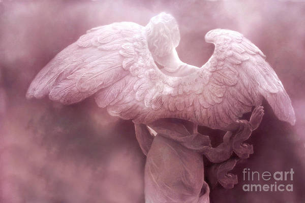 Dreamy Angel Art Wings Art Print featuring the photograph Dreamy Surreal Ethereal Pink Angel Art Wings by Kathy Fornal