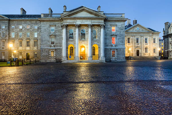 Dublin Print featuring the photograph Dublin Trinity College Chapel At Night by Mark E Tisdale