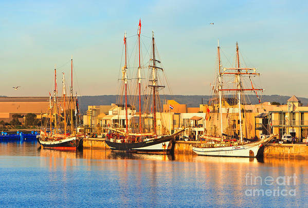 Dutch Tall Ships Docked Port Adelaide South Australia Art Print featuring the photograph Dutch Tall Ships Docked by Bill Robinson