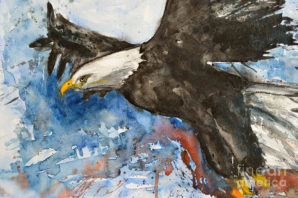Flying Eagle Art Print featuring the painting Eagle In Flight by Ismeta Gruenwald