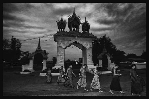 Thailand Print featuring the photograph Early Morning Monks by David Longstreath
