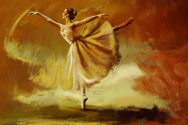 Ballet Dance Art Print featuring the painting Elegance by Corporate Art Task Force