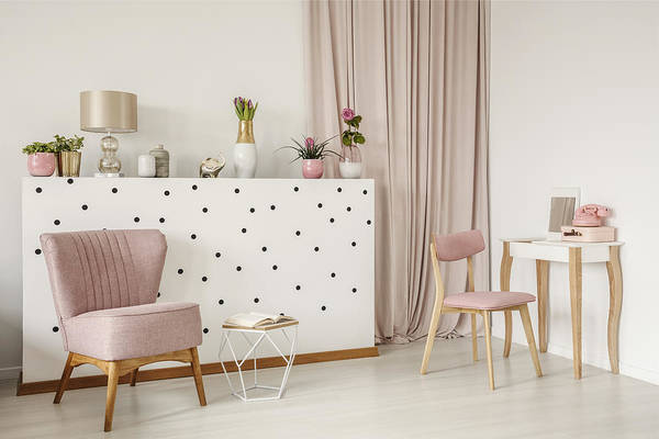 Elegant Armchair And An Open Book By A Polka Dot Wall, Wooden Vanity And  Curtains In A White Bedroom Interior With Dirty Pink Elements Art Print