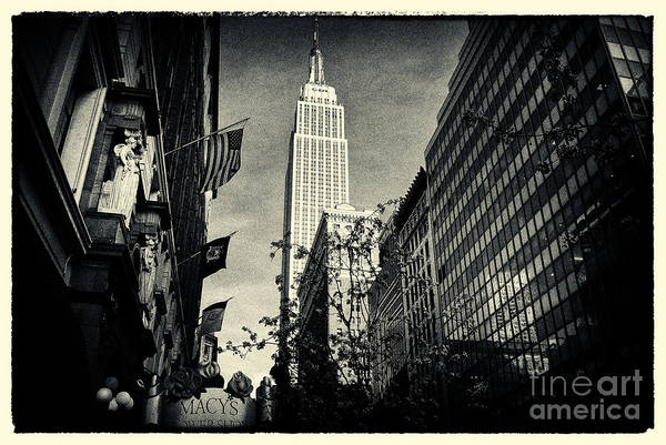 Filmnoir Print featuring the photograph Empire State Building And Macys In New York City by Sabine Jacobs