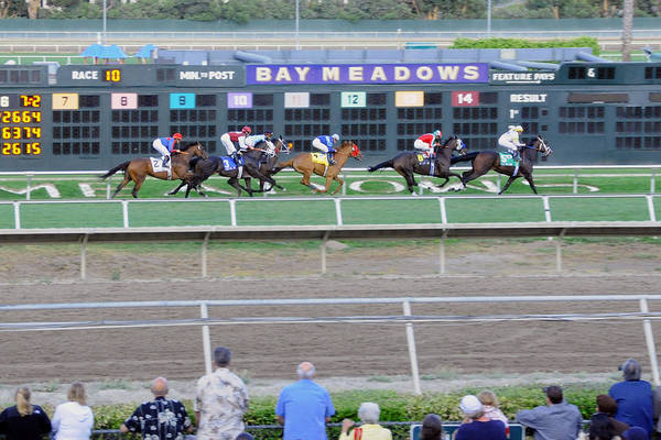End Of An Era Art Print featuring the photograph End Of An Era At Bay Meadows With Their Last Horse Race by Scott Lenhart