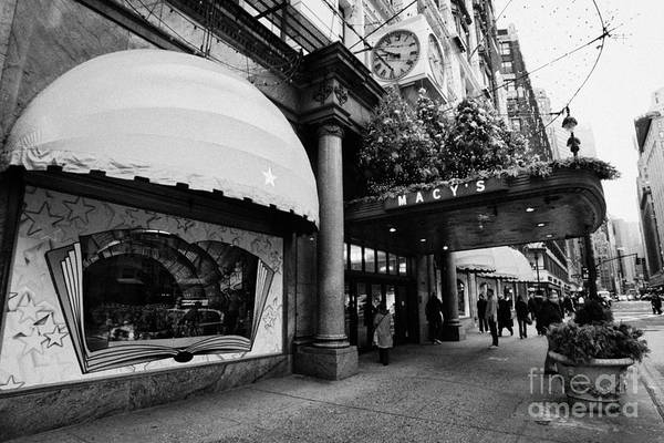 Usa Art Print featuring the photograph entrance to Macys department store on Broadway and 34th street at Herald square christmas by Joe Fox