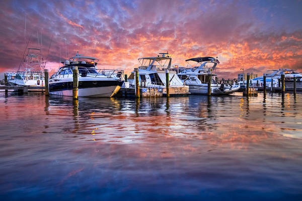 Boats Art Print featuring the photograph Evening Harbor by Debra and Dave Vanderlaan