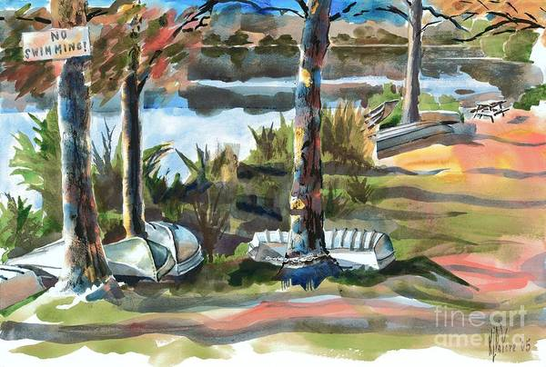 Evening Shadows At Shepherd Mountain Lake No W101 Art Print featuring the painting Evening Shadows At Shepherd Mountain Lake No W101 by Kip DeVore
