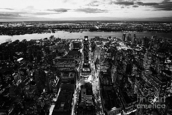 Usa Art Print featuring the photograph Evening View Of Manhattan West Towards Hudson River And One Penn Plaza Night New York City by Joe Fox