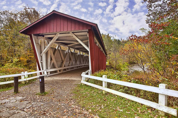 Landscape Art Print featuring the photograph Everett Covered Bridge by Marcia Colelli