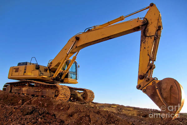 Excavator Art Print featuring the photograph Excavator by Olivier Le Queinec