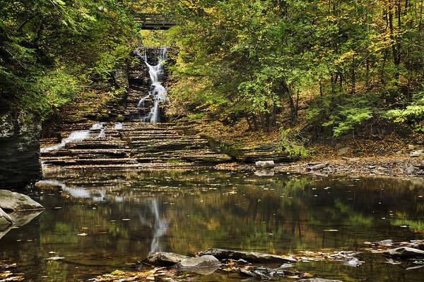Waterfall Art Print featuring the photograph Fall Waterfall Creek Reflection by Christina Rollo