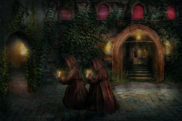 Witch Art Print featuring the photograph Fantasy - Into The Night by Mike Savad