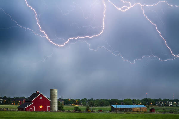 Lightning Art Print featuring the photograph Farm Storm Hdr by James BO Insogna
