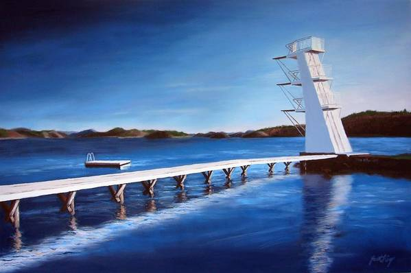Diving Board Art Print featuring the painting Farsund Badehuset On A Sunny Day by Janet King
