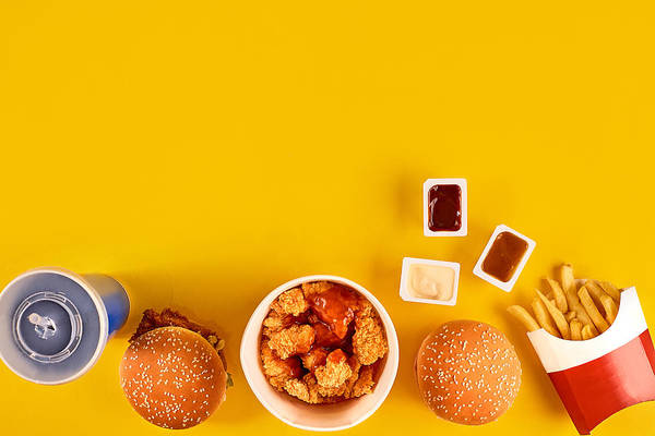 Financial Figures Art Print Featuring The Photograph Fast Food Dish Top View Meat Burger