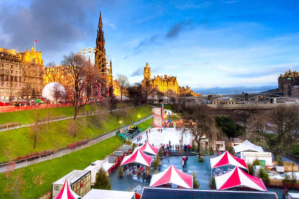 Princes Street Gardens Art Print featuring the photograph Festive Princes Street Gardens - Edinburgh by Mark E Tisdale