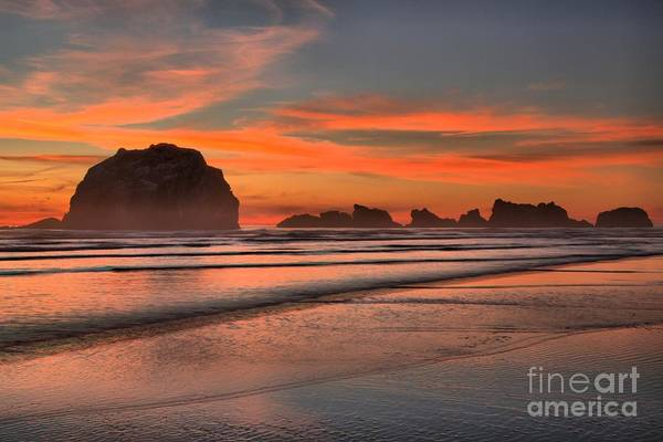 Bandon Beach Art Print featuring the photograph Fiery Ripples In The Surf by Adam Jewell