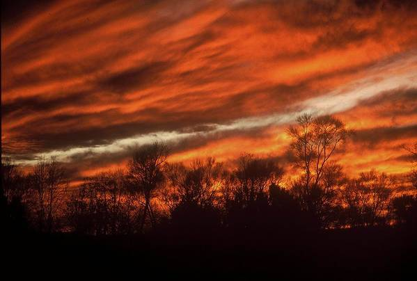 Sunsets Art Print featuring the photograph Fiery Sky by Rodney Lee Williams