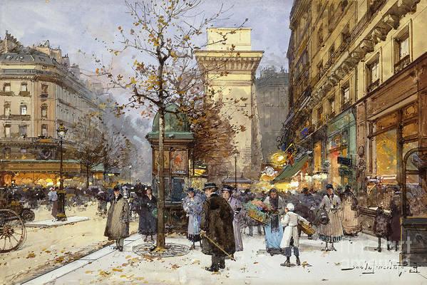 1ere Arrondissement Art Print featuring the painting Figures On Le Boulevard St. Denis At Twilight by Eugene Galien-Laloue